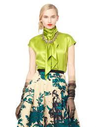oscar de la renta cap sleeve high neck blouse in green lyst