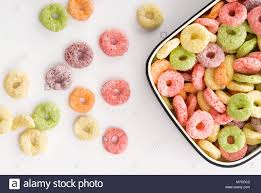 Close Up Of A Bowl Fruit Loops