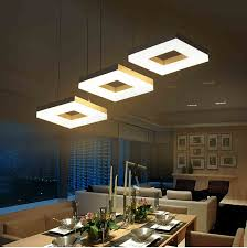 modern led pendant lights for dining room living room acrylic aluminum rectangle design led pendant l fixtures ac110 240v