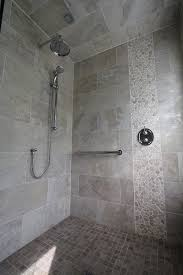 sliced pebble tile bathroom contemporary with shower