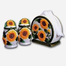 Sunflower Ceramic Napkin Holder Salt Pepper Set