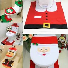 weihnachtsdeko badezimmer wc deckel set nikolaus santa tank
