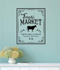 Farmers Market Fresh Milk Cream Vinyl Decal Wall Stickers Farm Cow Country Kitchen Decor