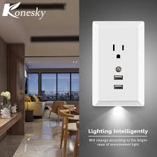 konesky us ac socket wall outlet with led light and 2 usb