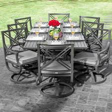 audubon 9 piece aluminum patio dining set with swivel rockers and