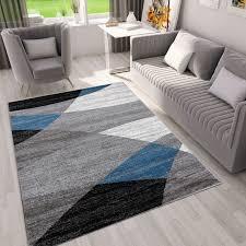 milano9118 blau moderner designer heatset teppich geometrisches muster meliert vimoda homestyle