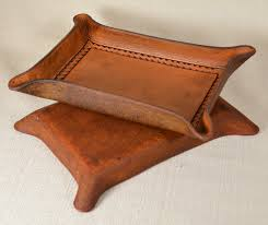 valet tray with border tooling full grain leather