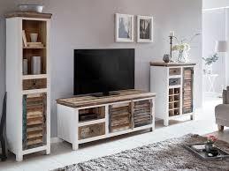woodkings wohnwand perth 3teilig weiß bunt antik vintage