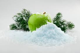 Green Delicious Christmas Apple In Snow With Tree Branches On The Background