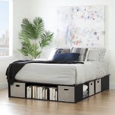 Black Oak Queen Platform Bed with Storage and Baskets Flexible