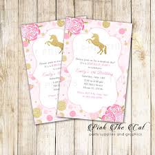 Unicorn Invitation Confetti Pink Gold Birthday Baby Shower Printable