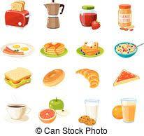 Set Of Cartoon Food Breakfast Toaster Coffee