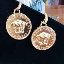 100 The Madalion Versace Gold Tone Medusa Head Medallion Se Are Stunning Medallion Itself Is 2 And Drop Is 25 I Earrings 43 Off Retail