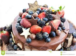 Cakes Decorated With Fruit by Chocolate Cake Decorated With Fruit Royalty Free Stock Photos