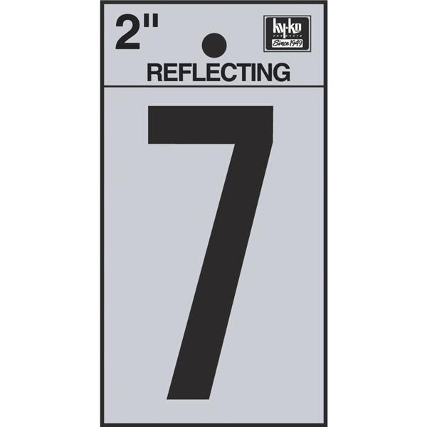 Hy-Ko Adhesive Reflective Number 7, Black, 2""
