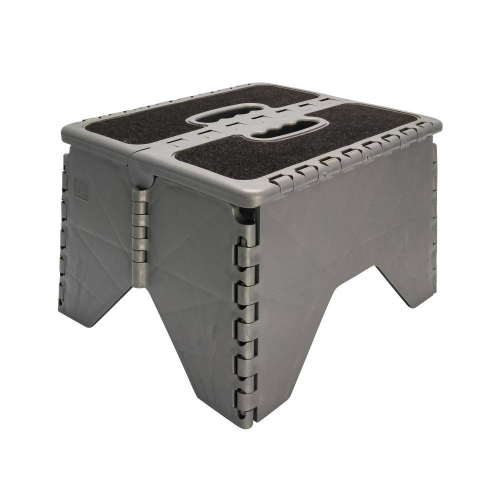 Camco 43635 Plastic Folding Step Stool with Non-Skid - Silver