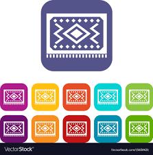Turkish Carpet Icons Set Flat Vector Image