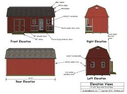 12x24 barn shed plans elevation views barns pinterest barn