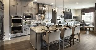 Kitchen Luxury Decor With Grey Theme Use 2 Dinning Table Modern Oven And