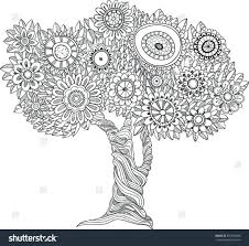 Coloring Book Tree House Pine Free Christmas Stock Vector Floral Black White Style