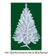 4 Feet 120cm White Christmas Pine Hook Tree 188 Tips Plast