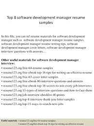 Top 8 Software Development Manager Resume Samples In This File You Can Ref Materials