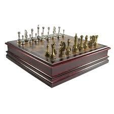Antique Pewter Finish Staunton Chess Set In Cherry Storage Box