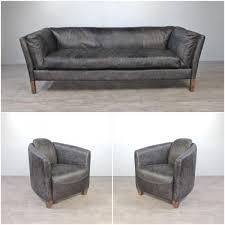 canape cuir gris canapé cuir gris vintage avec 2 fauteuils cuir gris vieilli