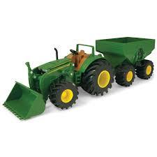 John Deere Monster Treads Tractor W Wagon Loader - TOMY - Toys
