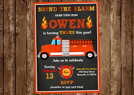 Fire Truck Birthday Party Invitation Fire Truck Fire | Etsy