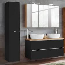 lomadox badmöbel set toskana black 56 spar set 10 tlg komplett mit inkl 2 keramik waschbecken seidenmatt anthrazit wotaneiche b h t ca