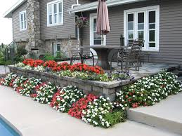 Flower Bed Ideas Landscape Traditional With Colorful Flowers Outdoor Patio Furniture