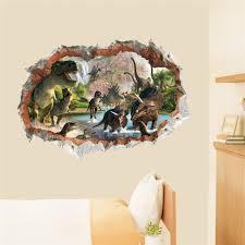 deco chambre dinosaure dinosaures 3d trou stickers muraux salon chambre décoration d âge