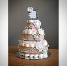 Classic Shabby Stylish Pink And Grey Diaper Cake With Burlap Pearls Flowers