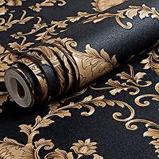 luxuriöse geprägte tapete gold schwarz waschbar pvc 3d damast wandtapete für wohnzimmer schlafzimmer 100 x 53 cm