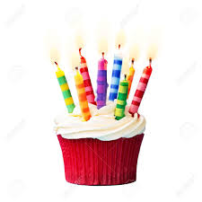 Birthday cupcake against a white background Stock