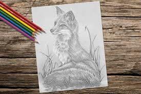Adult Coloring Page Fox Grayscale Pages Instant