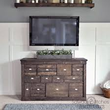 Turn A Modern Bookcase To Rustic Apothecary Style Media Console