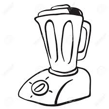 Simple Black And White Blender Cartoon Stock Vector
