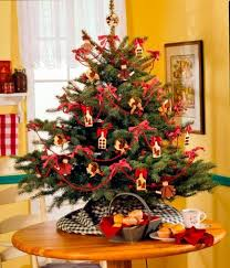 tiny christmas tree on a table w burlap base this could work