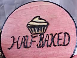 Half Baked Cupcake Patty Cake Food Dessert Edibles Circle Pink