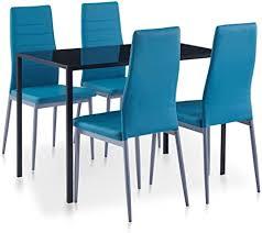 vidaxl essgruppe 5 tlg esszimmertisch esstischset esszimmergarnitur küchentisch esszimmer stuhl tisch set sitzgruppe esstisch mit 4 stühlen blau