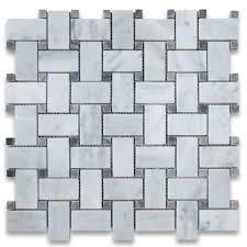 white 1x2 basketweave mosaic tile w gray dots honed marble