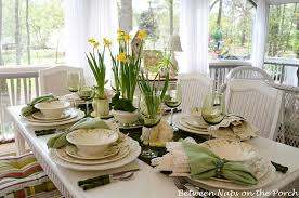 Spring Easter Table Setting With Vintage Sculptured Daisy Dinnerware
