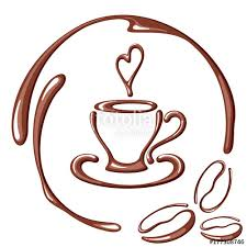 Vector Illustration With Coffee Cup Beans Heart And Round Frame Suitable For