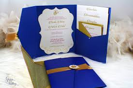 Royal Wedding Invitation Blue And Gold Pocket