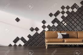 schwarzes wohnzimmer oder und warterauminnenraum des büros mit einem braunen ledernen sofa kissen und schwarzen fliesen 3d rendering mock up