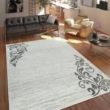 details zu teppich wohnzimmer modern kurzflor mehrfarbig muster floral ornament creme