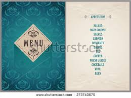 Elegant Template Menu Luxury Bright Turquoise Stock Vector