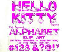 Hello Kitty Inspired Pink Embossed Alphabet Clip Art Letters Numbers Punctuation 46